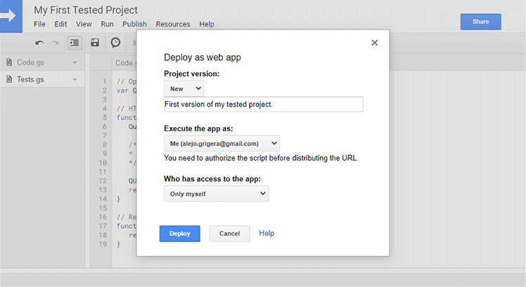 Name and deploy a version of your apps script web app